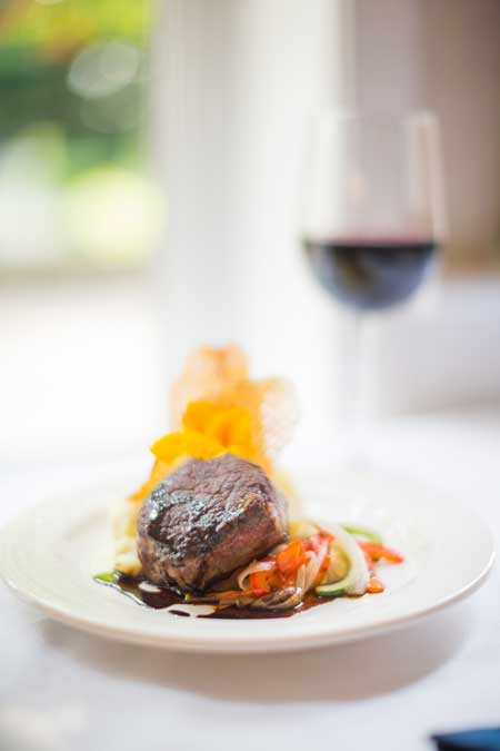 steak, vegetables & red wine